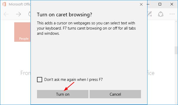 turn-on-caret-browsing