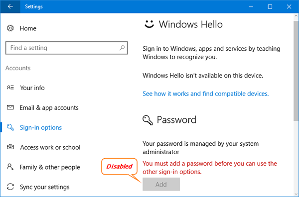 administrator password windows 7 disabled