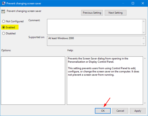 How to Prevent Users from Changing Screen Saver in Windows