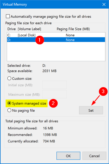 Managing virtual memory / pagefile in windows 7