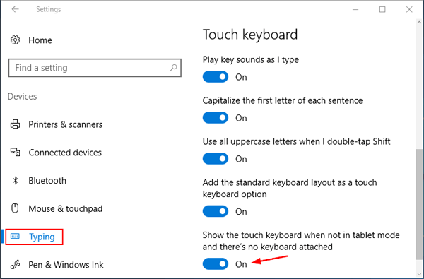 Set Windows 10 Touch Keyboard to Pop up Automatically in
