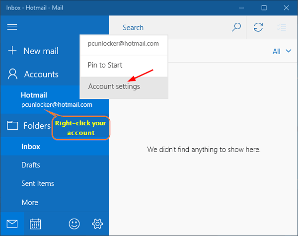 change sync frequency of email checking in windows 10 mail