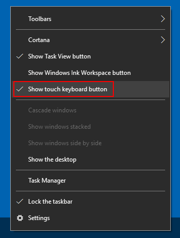 Show or Remove Touch Keyboard Icon on Windows 10 Taskbar