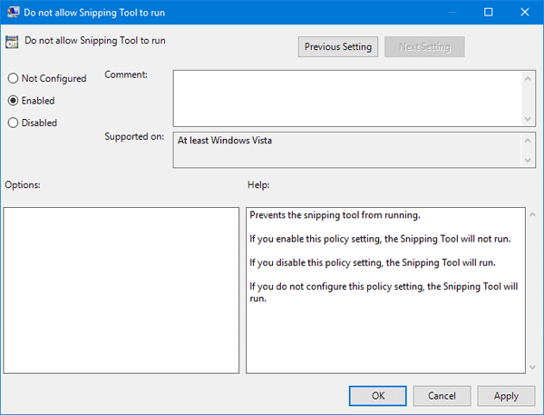 Disable Snipping Tool Windows Registry | Password Recovery