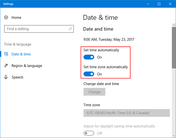 "Enable or Disable ""Set Time (Zone) Automatically"" in Windows 10"