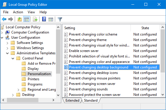 Prevent Users From Changing Desktop Wallpaper In Windows 10