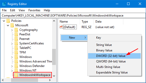 new-AllowWindowsInkWorkspace-value