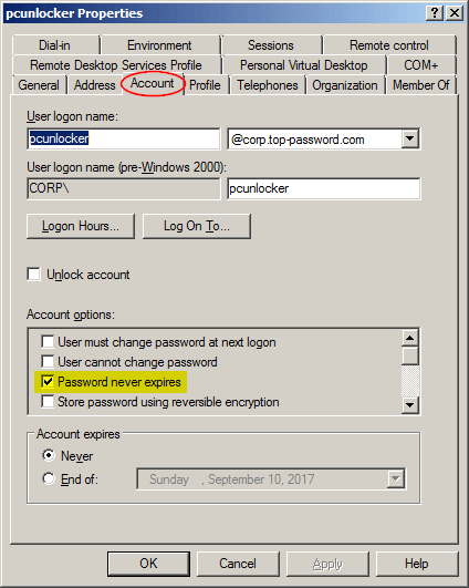 Set Password to Never Expire for Domain Accounts in Windows