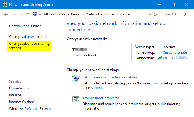 How to Turn On / Off File and Printer Sharing in Windows 10