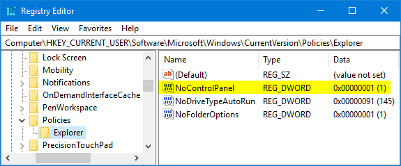 Disable / Enable Control Panel in Windows 10 / 8 / 7