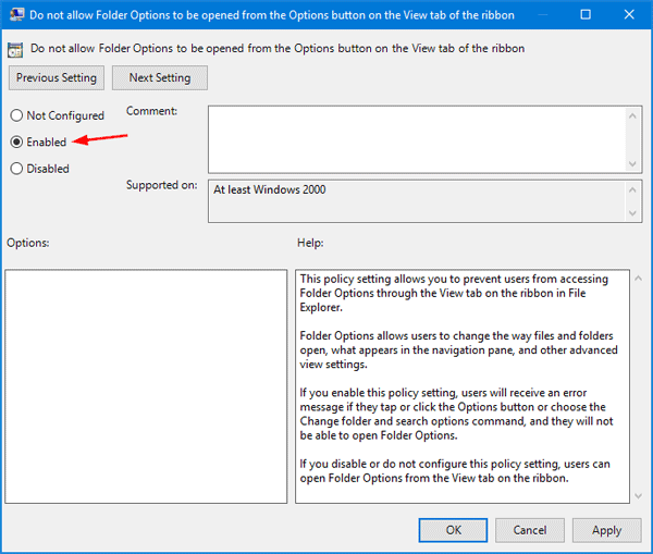 Enable or Disable Folder Options in Windows 10 / 8 / 7