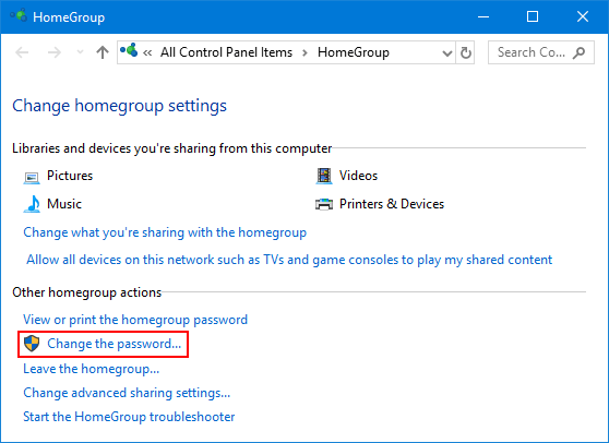 find homegroup password windows 10
