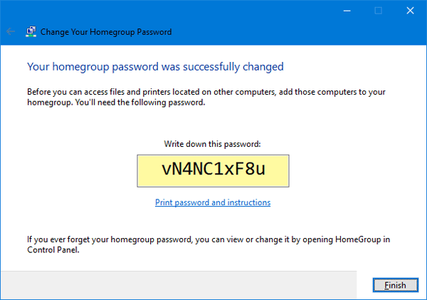 windows 10 homegroup password lost