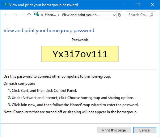 disable homegroup password