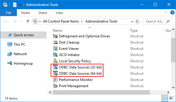 How to Open ODBC Data Source Administrator in Windows 10