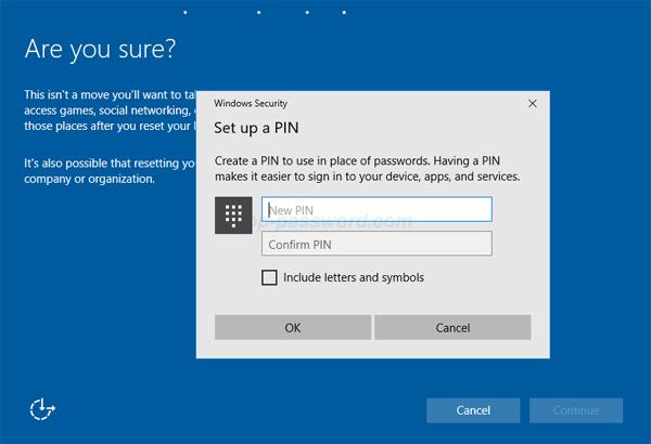 set pin login windows 10