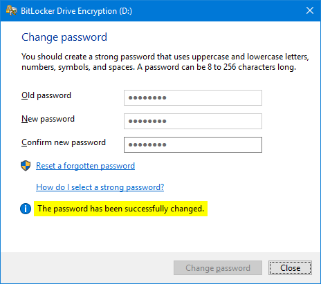 how do i change my bitlocker password windows 7