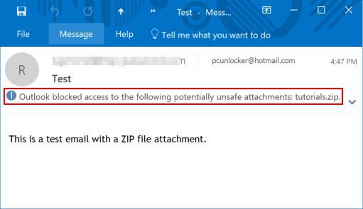 How to Block ZIP/RAR Attachments in Outlook 2016 – 2007