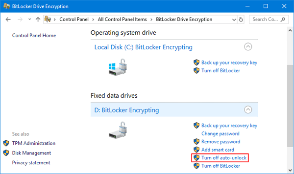 Manually Lock / Unlock BitLocker Encrypted Drive in Windows