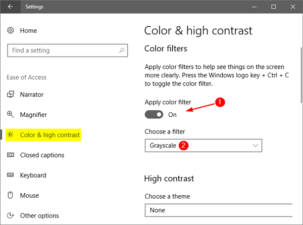 How to Turn On / Off Color Filters in Windows 10 | Password