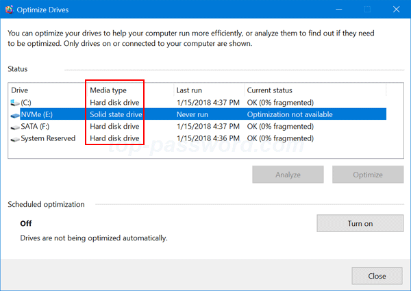 when the disk defragmenter window is shown look for the media type column and you can find out which drive is solid state drive ssd and which one is