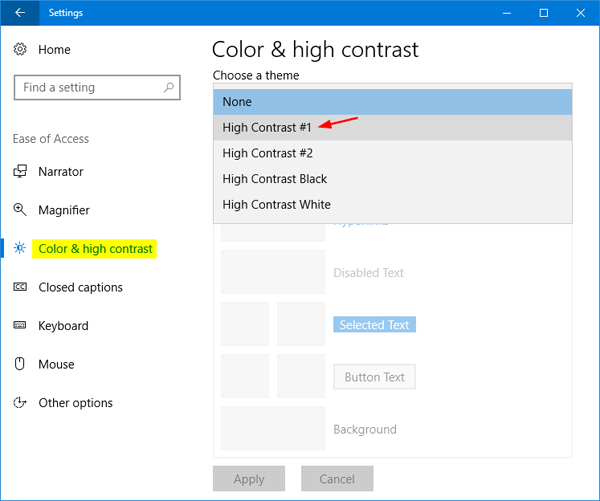 How to Turn On / Off High Contrast in Windows 10 / 8 / 7