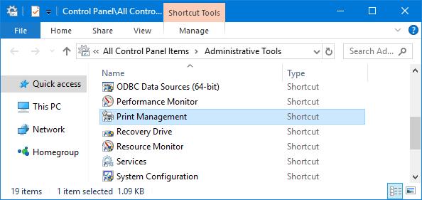 print management command windows 10