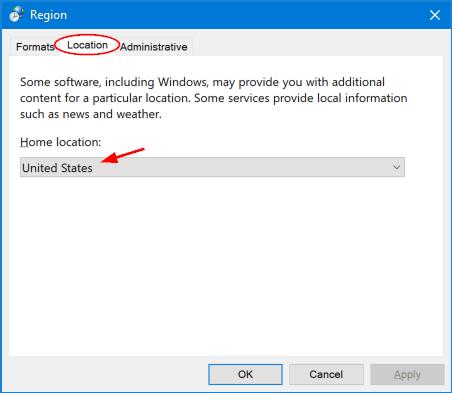 how to change region windows 10