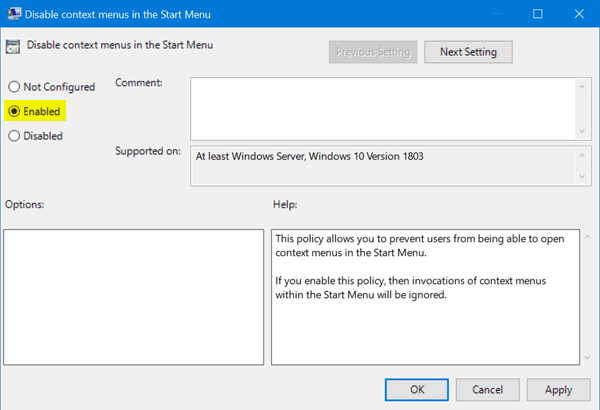 enable right click windows 10