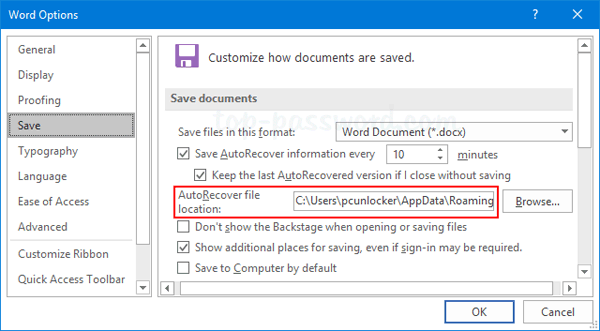 How to Recover Unsaved Word 2016 Document in Windows 10