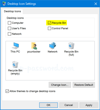 how to show recycle bin in windows 10