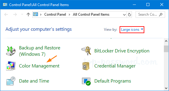 Windows 10 Color Management Password Recovery