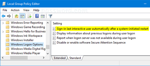 Enable Auto Login When Windows Updates Require A Restart Password Recovery