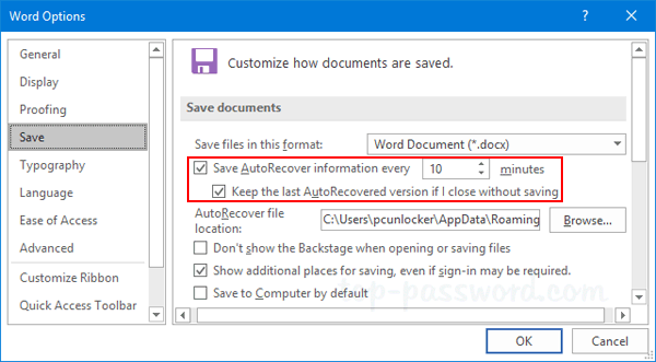 How To Turn Off Autosave In Excel 2016 | Password Recovery