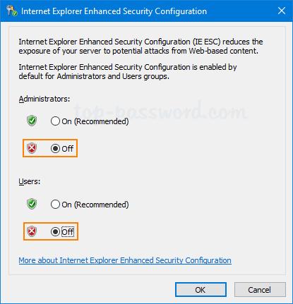 Disable Internet Explorer Enhanced Security Configuration in