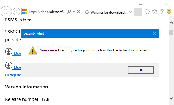 Server 2016: Your current security settings do not allow