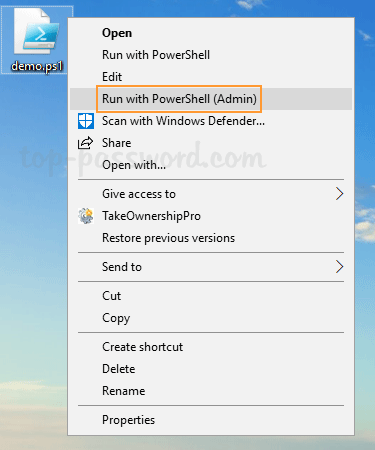 "Add ""Run with PowerShell (Admin)"" Context Menu for  PS1"