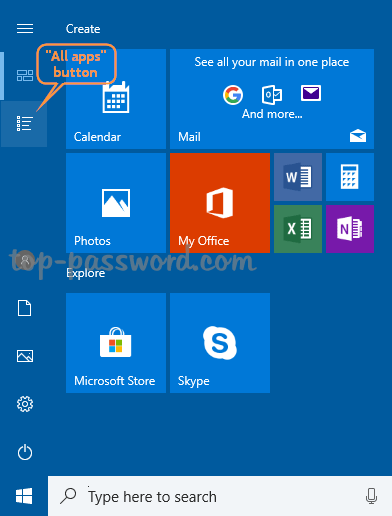 """How to Hide / Remove the """"All apps"""" List in Windows 10 Start"""