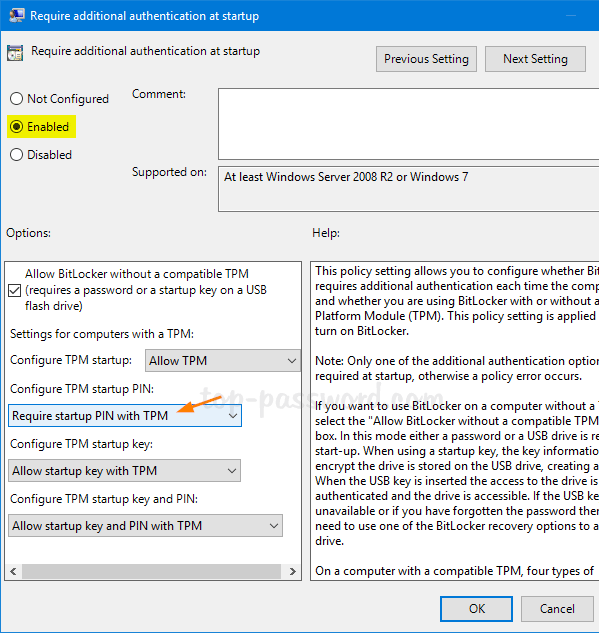 Configure Windows 10 to Prompt for BitLocker PIN During