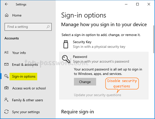 Prevent the use of security questions for local accounts in Windows