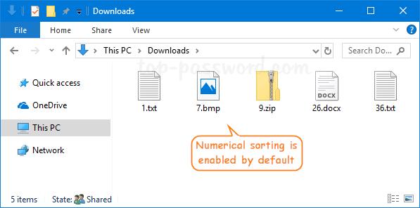Turn off Numerical Sorting in Windows 10 File Explorer