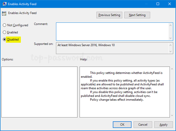How to Disable Windows 10 Timeline with Group Policy | Password Recovery