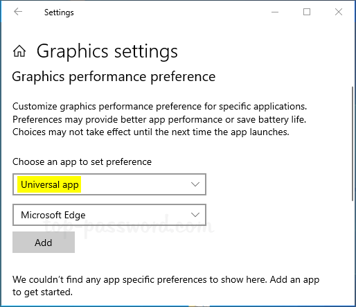 How to Enable High-Performance GPU for Windows 10 Apps or