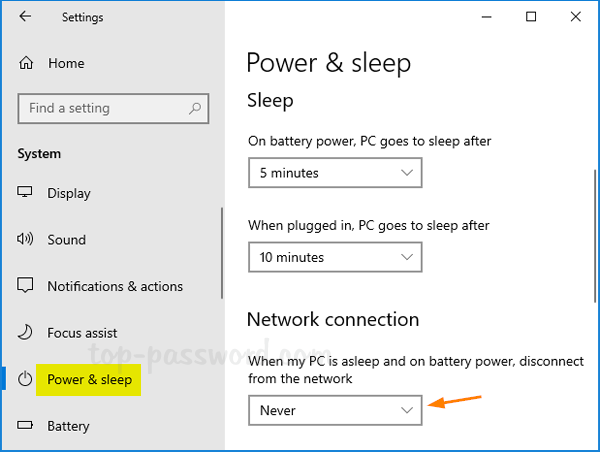Prevent Windows 10 From Disconnecting Network During Sleep Password Recovery