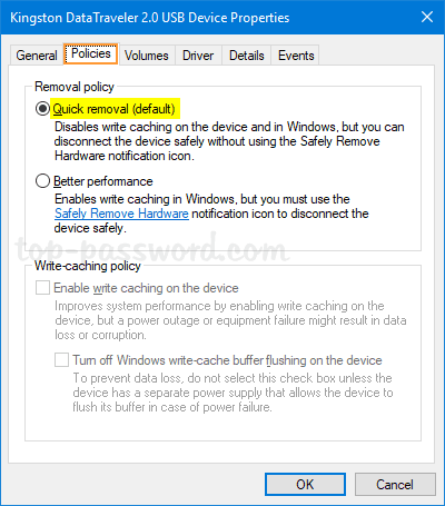 How to Enable Quick Removal Policy for USB Drives in Windows
