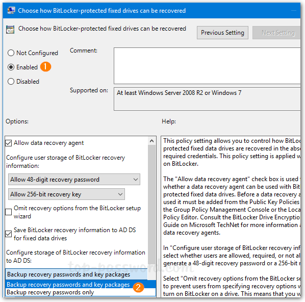 Use GPO to Automatically Save BitLocker Recovery Key in Active