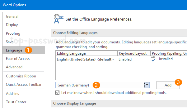 """a3d614b1a07 When the Options dialogue box opens, select the Language tab. Under the  """"Choose Editing Languages"""" section, select your desired language from the  drop-down ..."""