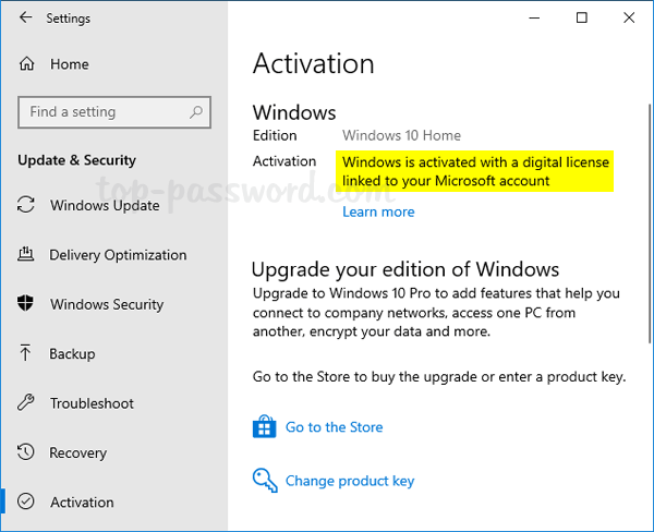 windows 10 activation key microsoft account