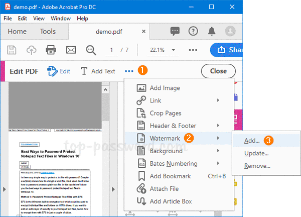 How to Add Text or Image Watermark to PDF Document