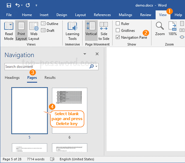 delete a page in ms word